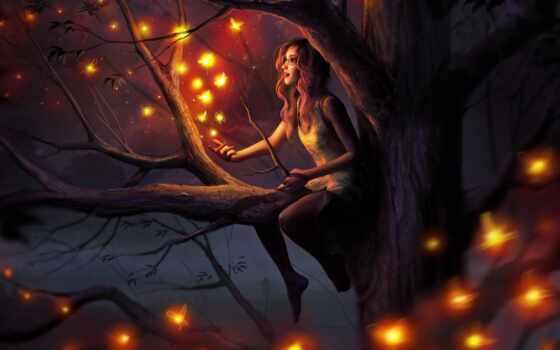 fantasy, art, девушка, дерево, женщина, artist, artwork, glass, digital, другие