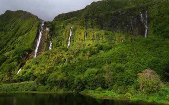 острова, азорские, португалия, флореш, остров, водопады, зелень, фажанзинья, gregor, весна,