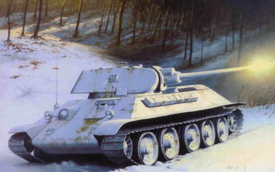 арт, советский, танк, зима, снег, деревья, средний, medium,