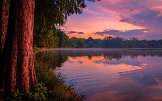 закат, озеро, небо