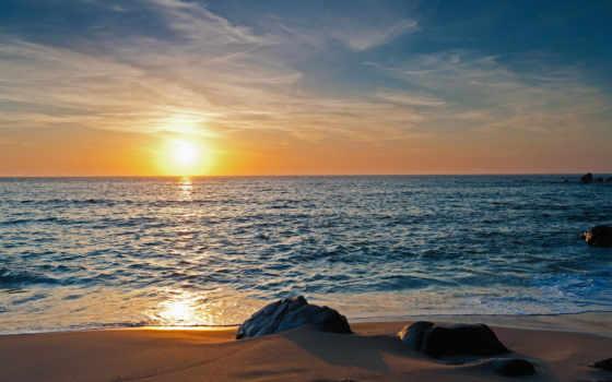 море, природа, песок, скалы, закат, горизонт,