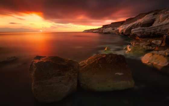 закат, red, rocks
