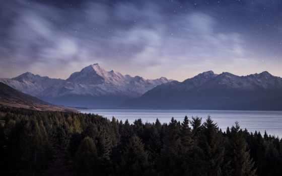 ночь, звезды, горы