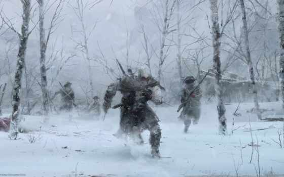 winter, военные, кенуэй, коннор, trees, assassin, радунхагейду, creed, игры, ассасин, зимние,