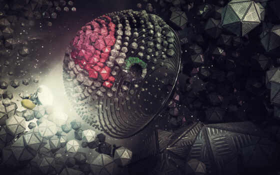 абстракция, фон, графика, рендеры, арта, космос, see, мяч, art, digital, минимализм