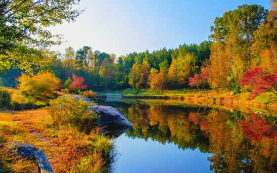 природа, landscape, дерево, осень, лес, краска, река, лист, гора