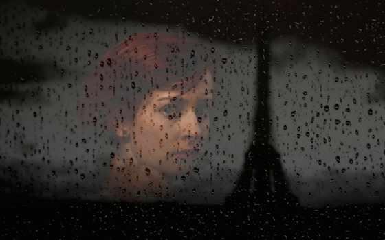 девушка, нов, дождь
