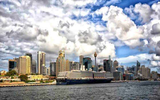 корабль, изображение, город