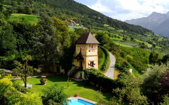 house, бассейн, горы