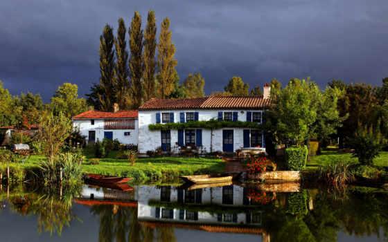house, природа, trees, поле, озеро, небо, озера, коттедж, reki, лодка,
