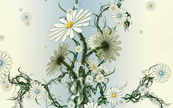 ромашки, cvety, фотоколлаж, art, пластик, стебель, девушка, бабочки,
