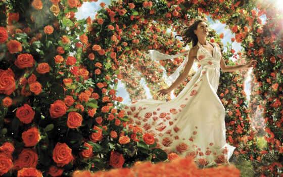 девушка, цветы, роза, женщина, many, платье, картинка, счастье, красивый, модель, молодой