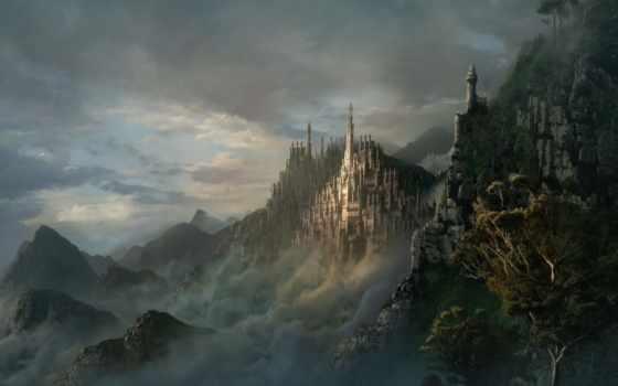 эльфорд, фэнтези, город, скалы, тьма, замки, замок, castle,