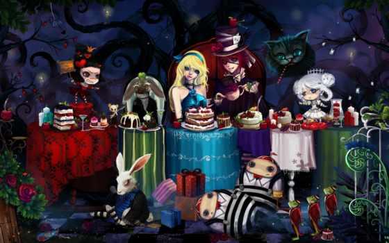 алиса, стране, чудес, кролик, hatter, daler,