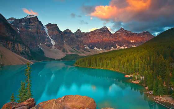 озеро, moraine, landscape, природа, горы, banff, красивый, канада, канадский, national,