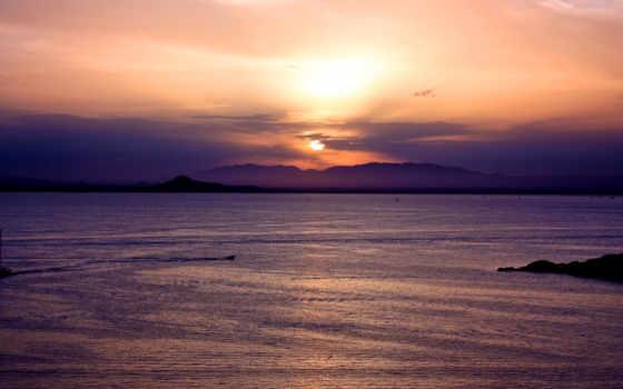 закат, солнца, ocean, море, закате, пейзажи -, water, sun,