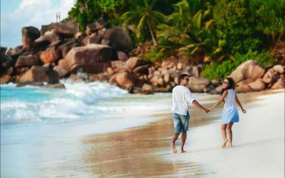 love, парень, девушка, настроения, берег, palm, trees, море, pair, романтика,