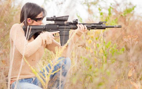 девушка, стреляет, снайпер