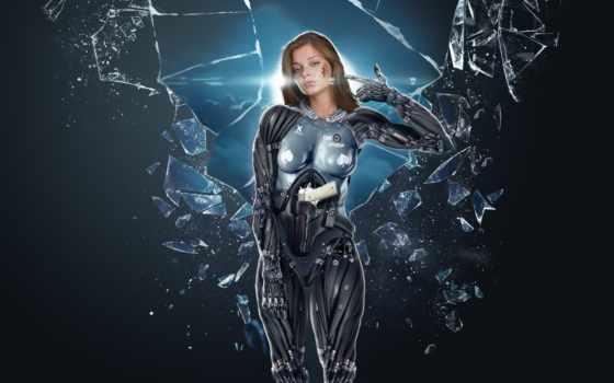 девушка, cyborg, robot, glass, пасть, осколки,