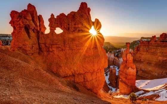 горы, каньон, bryce, sun, сша, rays, utah, national, state, скалы, park,