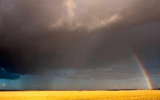 радуга, после, дождь, поле, небо, clouds, ipad,