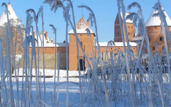 замки, defense, старинный, vilnius, эстония, часть, зимние, travel,