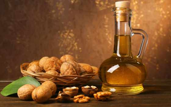 орехи, нефть, листья