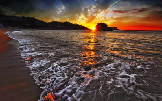закат, море, лагуне