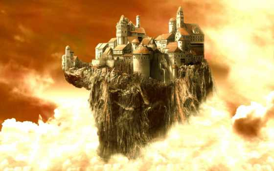castle, clouds, fantasy, pinterest, castles,