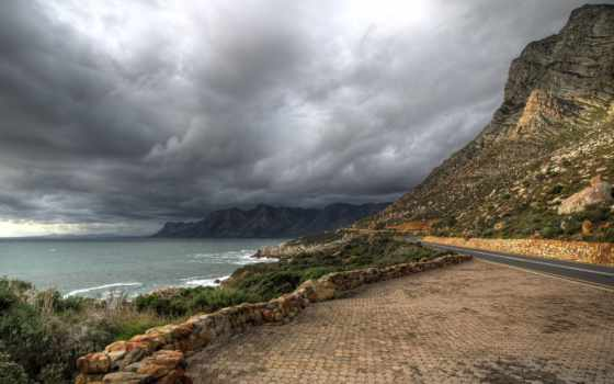 дорога, горы, landscape, oblaka, трава, море,