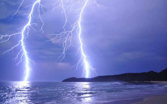 lightning, природа, буря, море, landscape, берег, прекрасная, наша, what,