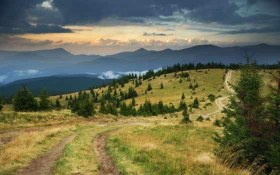 телефон, country, mobile, desktop, дорога, trees, mountains, природа,