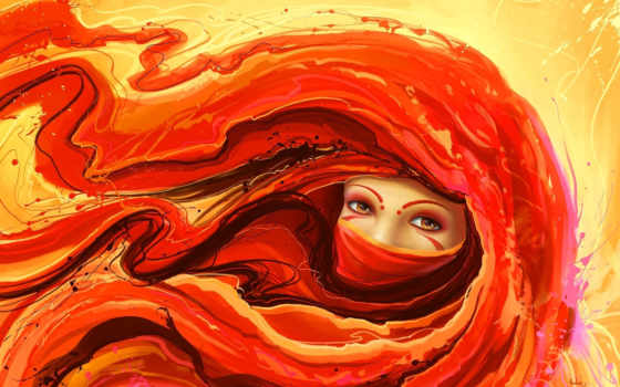 рыжая, девушка, art, рисунок, повязка, тату, red,