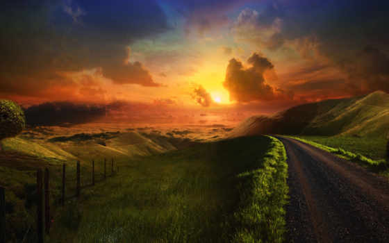 road, sunset, wallpapers, wallpaper, hill, desktop