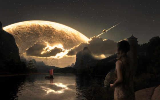 девушка, планета