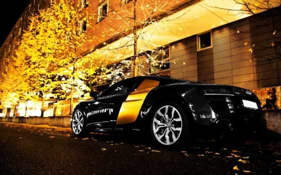 ауди, black, шикарная, полосой, остановилась, ночь, желтой, поперечной, car, gold, чёрного,