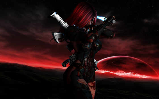 девушка, оружие, кровь