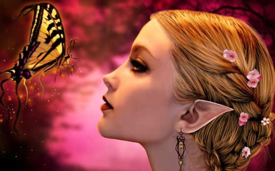 девушка, лицо, profile, волосы, эльф, уши, цветы, серьги, бабочка, fantasy,