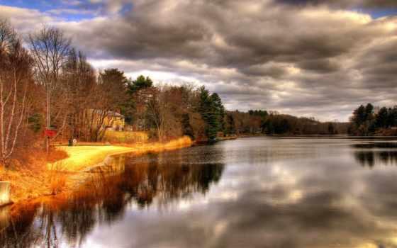 озеро, природа, вечер