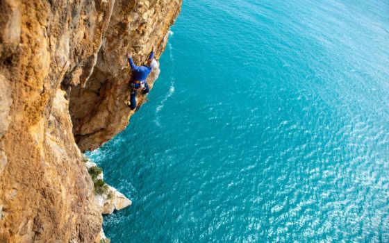 climber, море, скалы, rock, день, альпинизма, стены, горы, альпиниста,