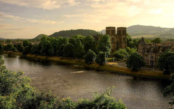 scotia, шотландия, castle, природа, река, great, ук, великобритания, страница, trees, andrews,