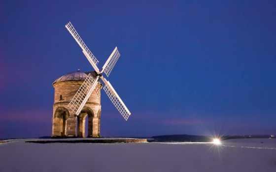 поле, mill, красивые, ветряк, landscape, ветряная,