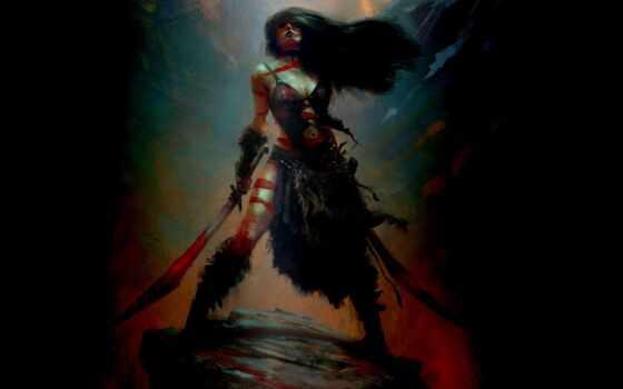 меч, красивый, два, дракон, девушка, fantasy, трюм, женщина