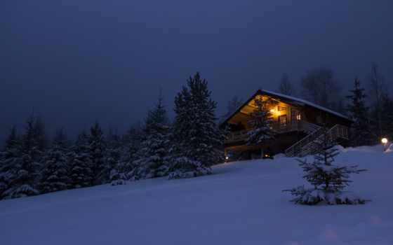 house, лесу, winter