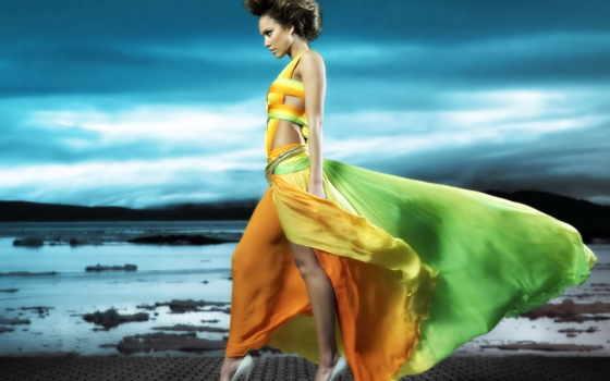 платье, devushka, легком, банка, желтом, devushki, берегу,