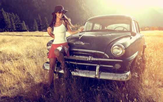 ретро, девушка, закат, горы, summer, лес, близко, автомобиля, трава,