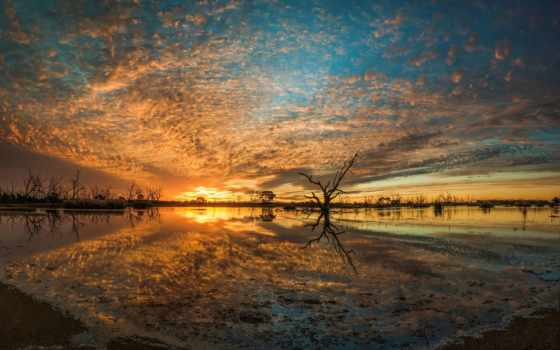 swamp, озеро, небо, jeff, wyangan, закат, река, campbells, water,