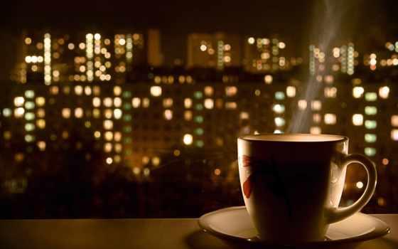 cup, чая, окно, хорошая, горячего, chau,