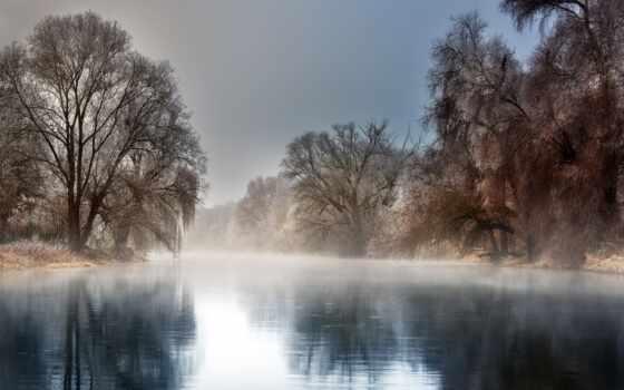 дерево, winter, иней, landscape, туман, природа, wallbox, река, айфон, заставка