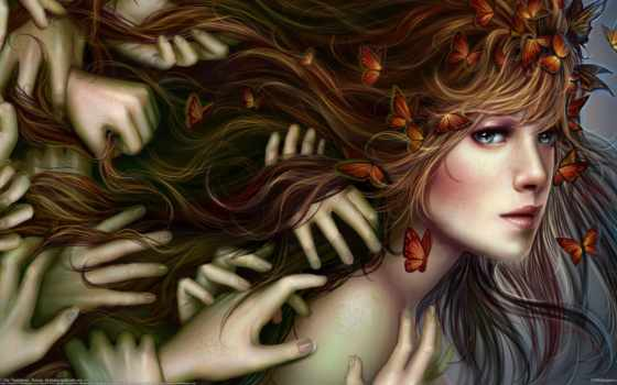руки, бабочки, волосы, девушки, фэнтези, девушка, tsyplakova, alla, лицо, цыплакова,